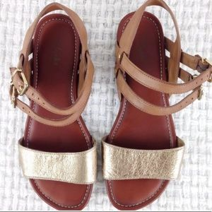 Clark's gold strap leather sandals